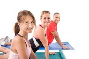 group on yoga mats
